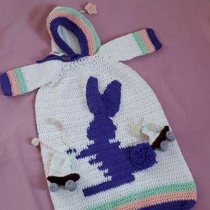 Easter Hand crocheted Infant Girl Swaddle Blanket